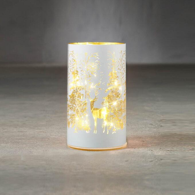Lyslykt 15 LED grå med snøkrystall Høyde 15cm , diameter 9cm. Går på batteri, kan bare brukes inne.