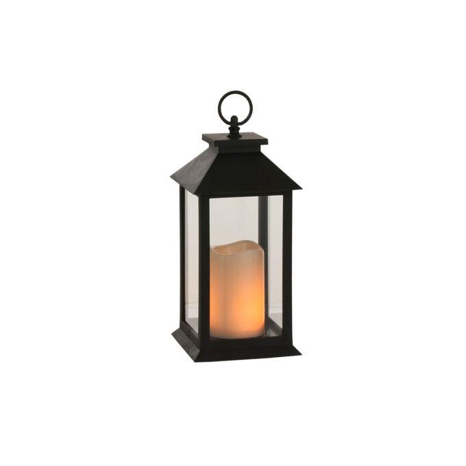 Lyslykt med LED kubbelys inni. Fin til å bruke på trappa eller på grava.