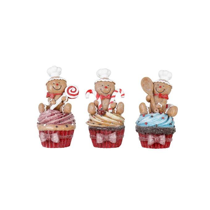 La deg sjarmere av disse muntre pepperkakemennene på hve sin fargerike cupcake. Pris pr stk.