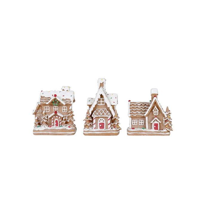 Nydelige pepperkakehus med røde og hvite detaljer og et lett snødryss på taket. Her kan du få din egen lille pepperkake-landsby. Pris pr stk.
