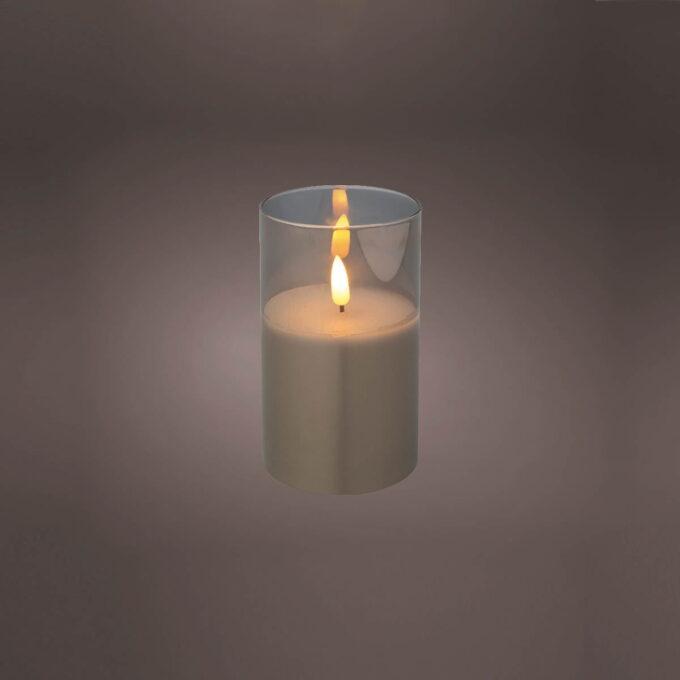 Kubbelys i LED mec glass grå Batteri 2xAA