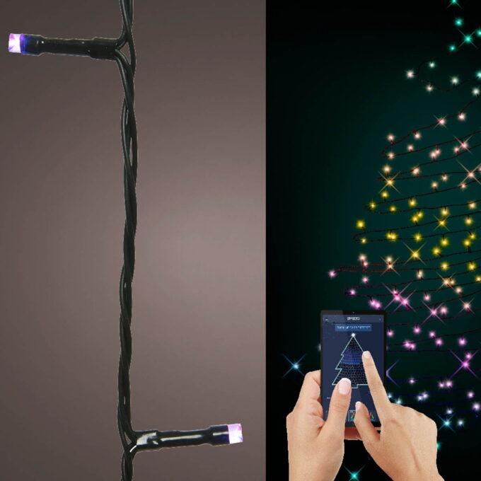 Lysslynge med 100 eller 200 LED lys som kan skifte farge. Endring av farge kontrolleres med app som lastes ned