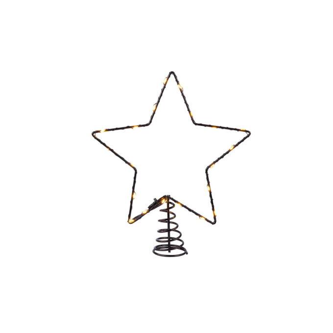 Toppstjerne som kan kobles til julebelysningen på våre kunstige juletrær med microLED beslyning.
